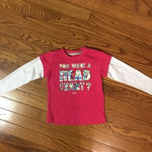 Nike long sleeve T pink & white size 3T
